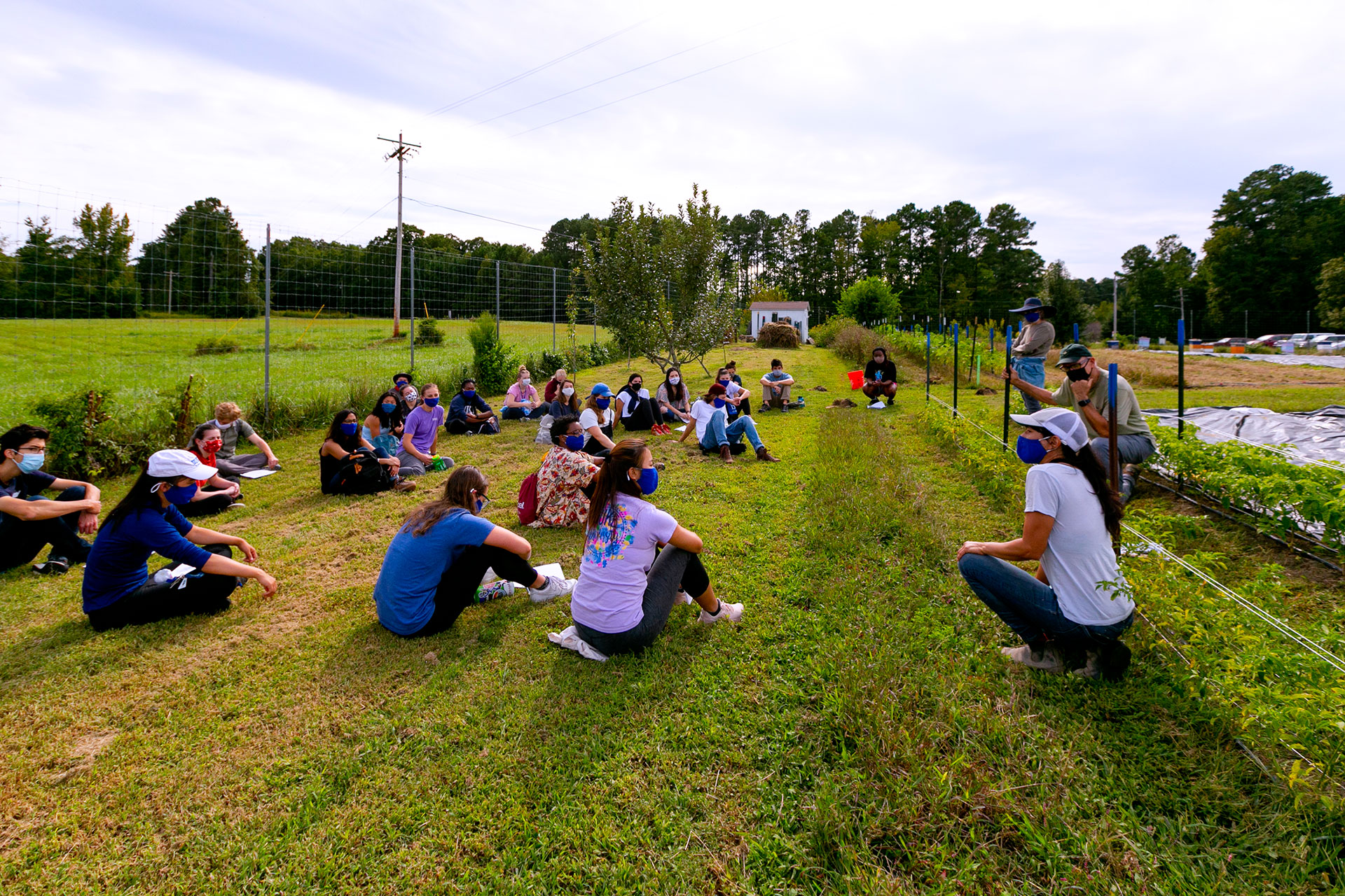 "Student in ""The Environment in Literature, Law and Science"" visit the Duke Campus Farm during a class trip"
