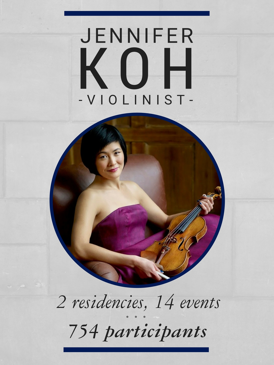 During her 2 residencies on campus, violinist Jennifer Koh hosted 14 events that reached 752 participants