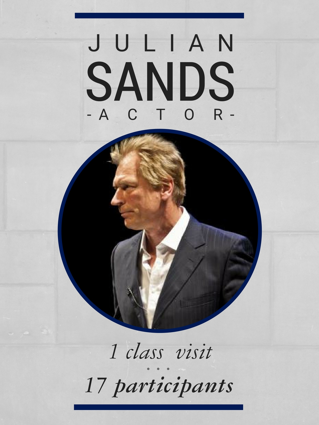 During his time on campus, actor Julian Sands visited a class of 17