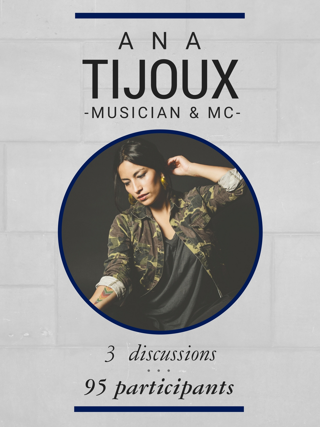 During her residency, musician/MC Ana Tijoux took part in 3 discussions and interacted with 95 participants