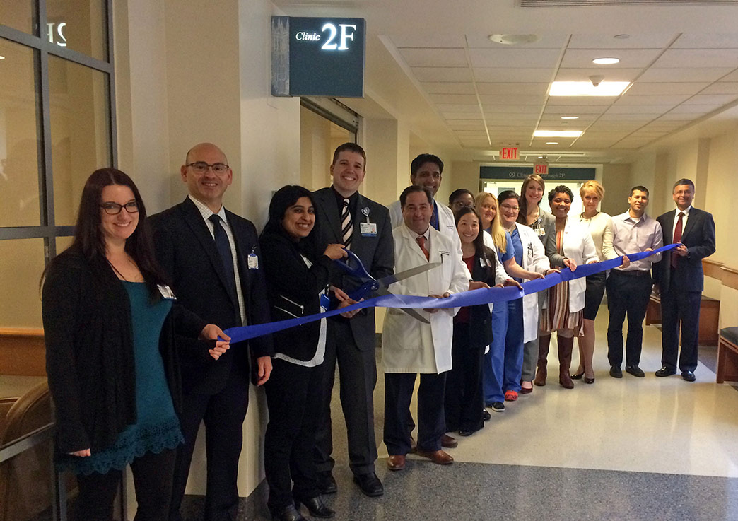 The Duke Perioperative Pain Care team celebrates the opening of the clinic at a ribbon-cutting ceremony Monday.