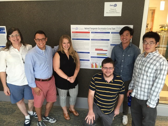 The Data+ team that looked at data from the National Transgender Discrimination Survey. (L-R) Dr. Jamie Jennings (IBM), Cole Rizki (project manager), Maddie Katz, Paul Bendich, Parker Foe, Tony Lin.