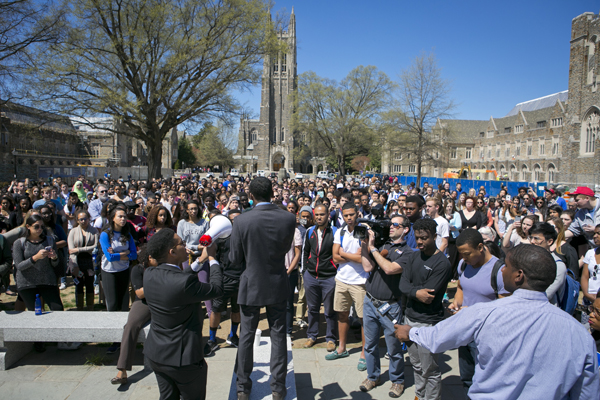 BSA President Jamal Edwards addresses the crowd at the beginning of a march on Wednesday afternoon.