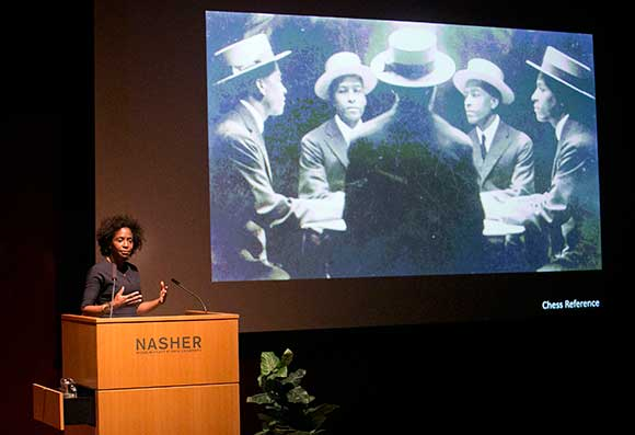 Lorna Simpson speaking at Nasher