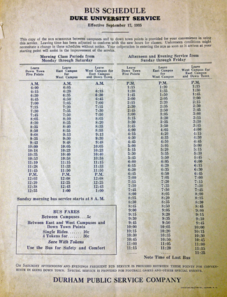This 1935 bus schedule shows stops and fee information for Duke students. Click for an enlarged version.