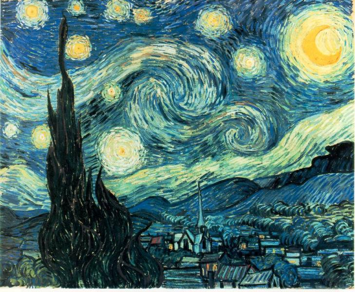 The Starry Night. Oil on canvas by Vincent van Gogh.
