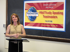 Meg Barker helped launch the 'PRATTically Speaking' Toastmasters club to expand her public speaking and leadership abilities. Photo by Marsha A. Green.