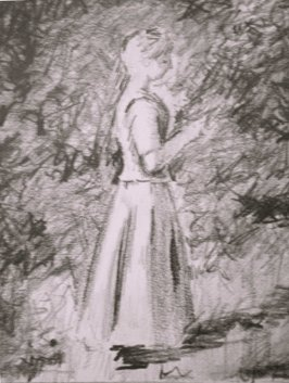 Sketch by William Parker of 'In the Grove' by Theodore Robinson.