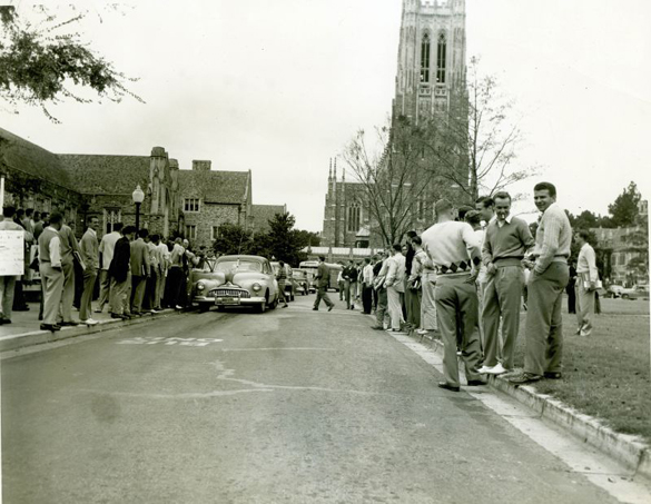 In 1949, Duke students made national news with a boycott of campus buses. They declared October 17 'Shoe Leather Day to protest a hike in the campus-bus fare from a nickel to three tokens for a quarter. Newspapers around the country ran the Associated Press story of Duke students carpooling and walking between East and West campuses to demonstrate against the fare increase.