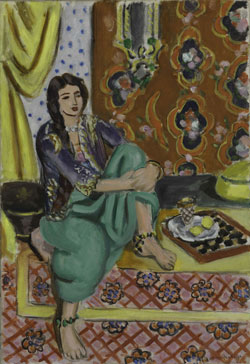 Henri Matisse, Seated Odalisque, Left Knee Bent, Ornamental Background and Checkerboard, 1928. Oil on canvas, 21 5/8 x 14 7/8 inches. (54.9 x 37.8 cm)