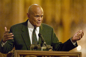 Harry Belafonte delivers the keynote address at the MLK commemoration Sunday in Duke Chapel.