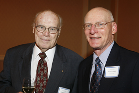 George Maddox, left, with current Aging Center Director Harvey Cohen