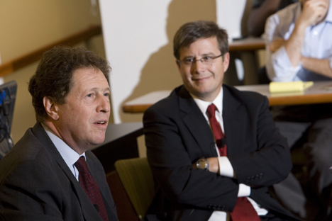 Sir Nigel Elton Sheinwald, the British Ambassador to the United States of America, spoke at the Sanford School Tuesday. Political Science Professor Peter Feaver watches.