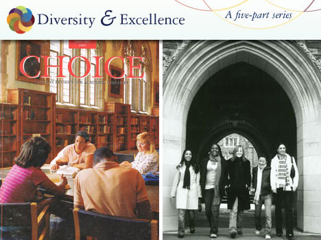 "Left, a photo from the late 1980s was used several times to depict diversity at Duke.  The male in the photo is Ed Gomes, current associate dean for Trinity College technological services.  The photo on the right is a 2007 photo updating two previous photos of ""women at Duke."""