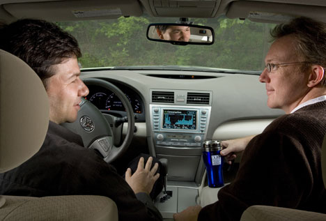 Duke management professors Jack Soll (left) and Richard Larrick began discussing fuel efficiency statistics while carpooling in Soll's hybrid Toyota Camry.