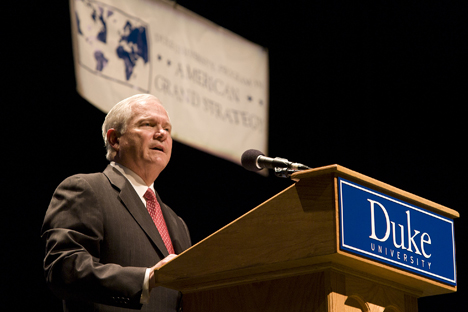 Robert Gates urges students to 'go outside your comfort zone and take a risk.'