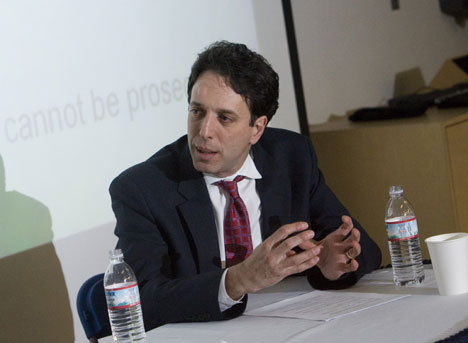 David Schanzer speaks at Thursday's forum.