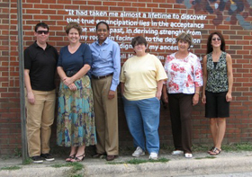 Institute teachers, pictured on Chapel Hill St., toured Durham civil rights sites to learn about hands-on instruction of human rights.