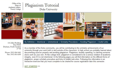 A mandatory plagiarism tutorial helps define issues for students.