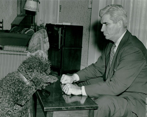 J.B. Rhine also conducted ESP studies on animals, including this dog.  The military sponsored research on the possible telepathic powers of homing pigeons.