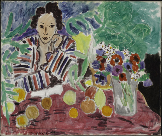 Matisse, Striped Robe, Fruit and Anemones