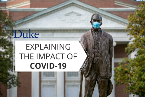 """A statue of Benjamin Duke wearing a mask, with text reading """"Explaining the Impact of COVID-19"""""""