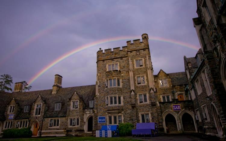 A rainbow over Duke's campus.