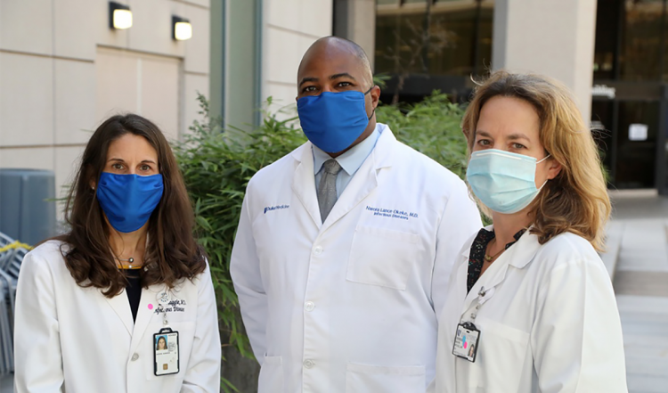 From left to right: Susanna Naggie, Lance Okeke, and Mehri McKellar are the principal investigators on three major outpatient clinical research trials happening at Duke. This photo and top feature photo by Jim Rogalski.