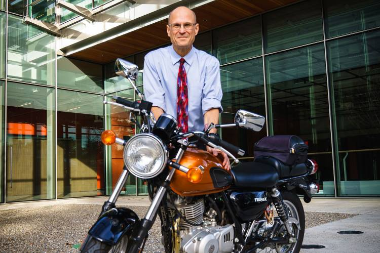 Scott Lindroth with motorcycle at the Ruby