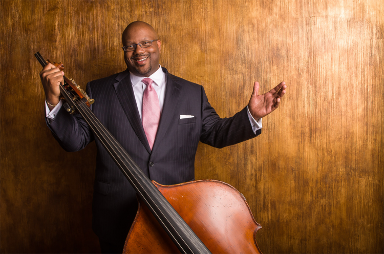 John Brown with his bass instrument