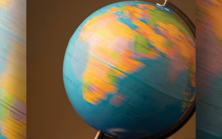 A spinning globe.