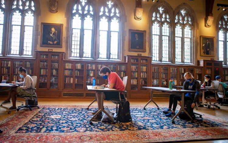 Students work in the Rubenstein Rare Book & Manuscript Library's Gothic Reading Room. Photo courtesy of University Communications.