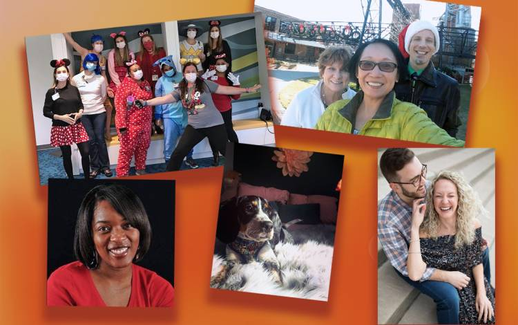 Clockwise from top left: Taryn Baer-Shalev and her colleagues, Betty Irvin and her co-workers, Melissa Slogan and her fiancé, Stephanie Roberson's dog, and Saemica Wilkins.