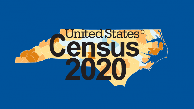 The U.S. Census logo over a map of North Carolina counties