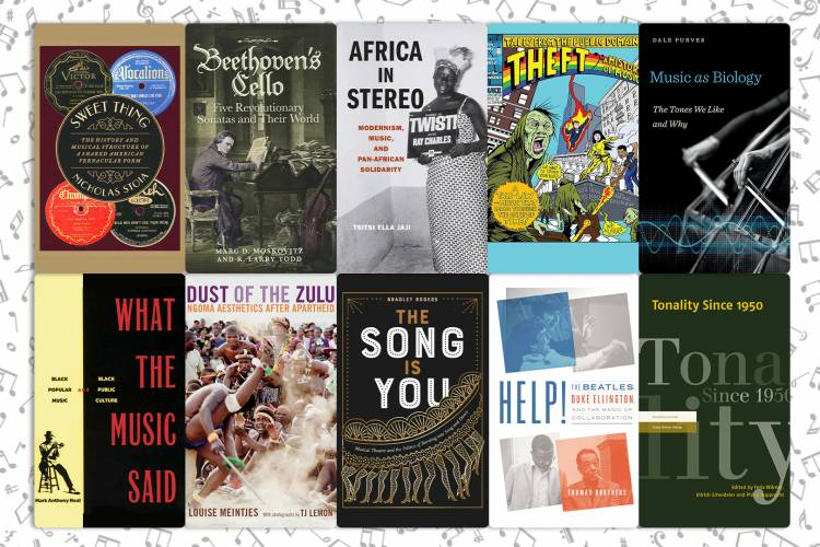Collage of 10 book environment book covers from Duke authors