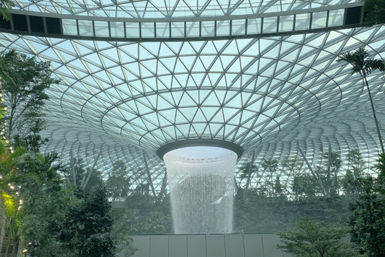 The water feature at the Jewel Changi Airport, a popular photography destination