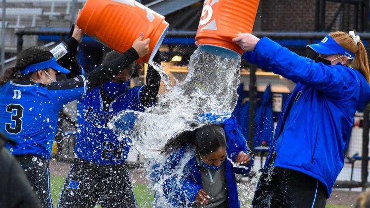 Duke softball celebrates 10th win of the team's career