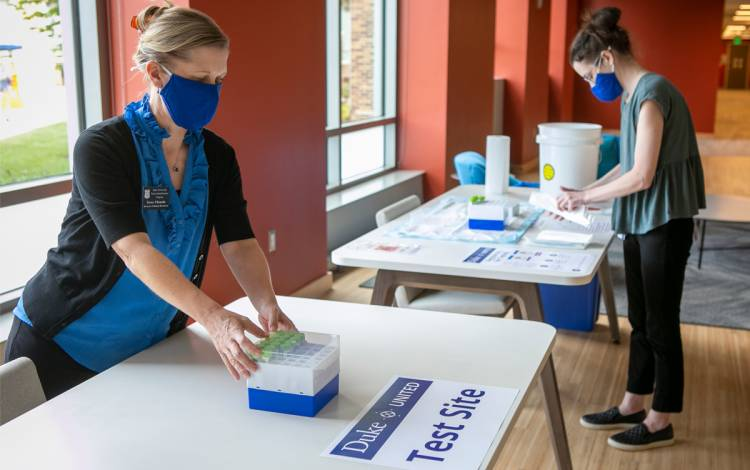 Starting this week, as part of Duke's strategy, around 2,000 self-administered COVID-19 tests will be completed by a cross-section of Duke undergraduate students on campus. Photo by Jared Lazarus, University Communications