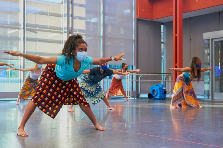 Ava Vinesett leads African dance class