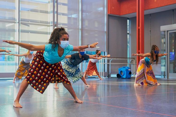 Ava Vinesett leads African dance class