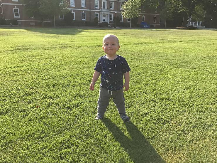 15-month old Jacques walks on East Campus.