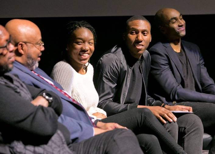 Nolan Smith, second from left, former Duke basketball player and current Duke men's basketball assistant coach, moderates a panel discussion on athlete protests at Griffith Film Theater Thursday night as part of Duke's MLK events. Photo by Jared Lazarus/Duke Photography