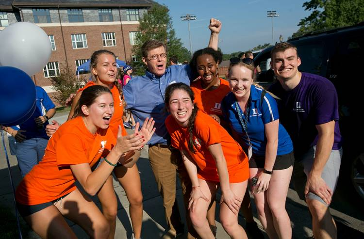 President Vince Price stands for a photo with FACs. Photo by Jared Lazarus/Duke Photography