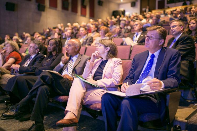 The Griffith Film Theater was filled with inaugural delegates and members of the Duke community. Photo by Duke Photography