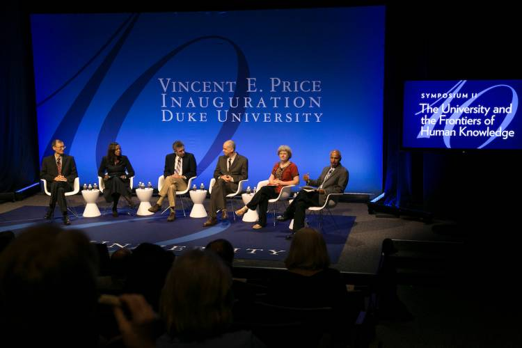 The second panel of faculty focused on how universities can expand human knowledge. Photo by Duke Photography