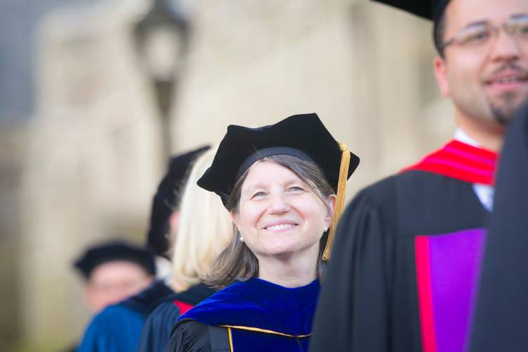 Duke Provost Sally Kornbluth walks in the inaugural procession. Photo by Duke Photography