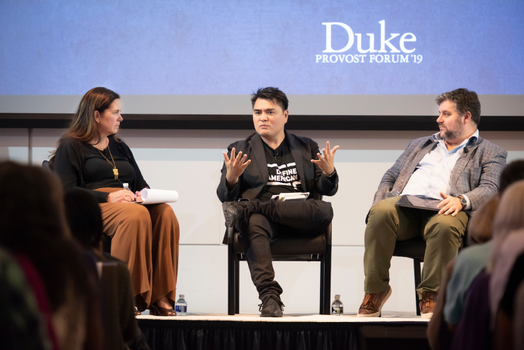 In Thursday's morning session, author Jose Antonio Vargas discussed how immigrants are challenged to find a sense of belonging when they arrive in America. Professor Suzanne Shanahan and writer Michael Dougherty joined him in the discussion.