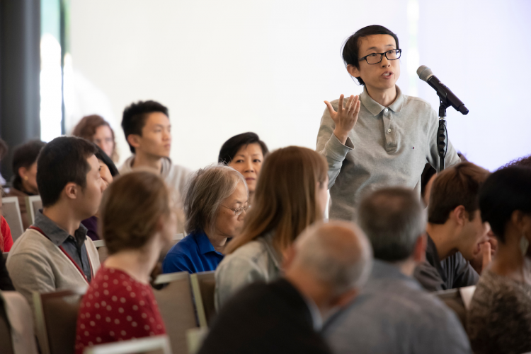 In a discussion about universities' responsibility to their foreign students, Chinese students speak about challenging conditions for them at Duke at afternoon session.