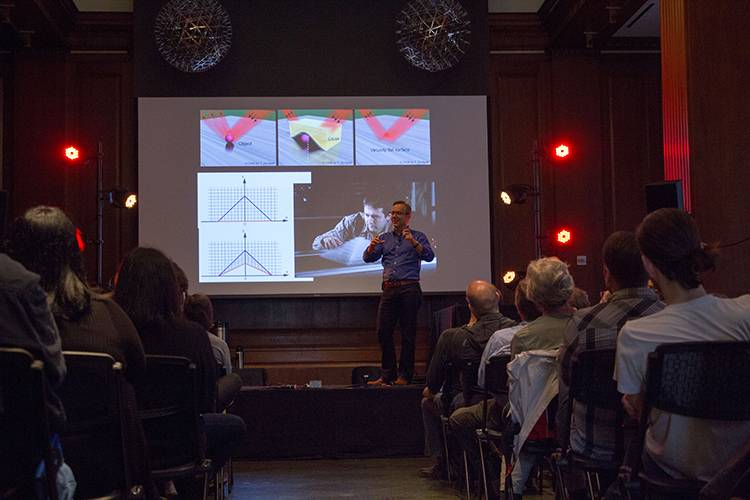 Duke engineering professor Steve Cummer told last years's Moogfest about his 'sound hologram' experiments. (Photo by Jonathan Lee)