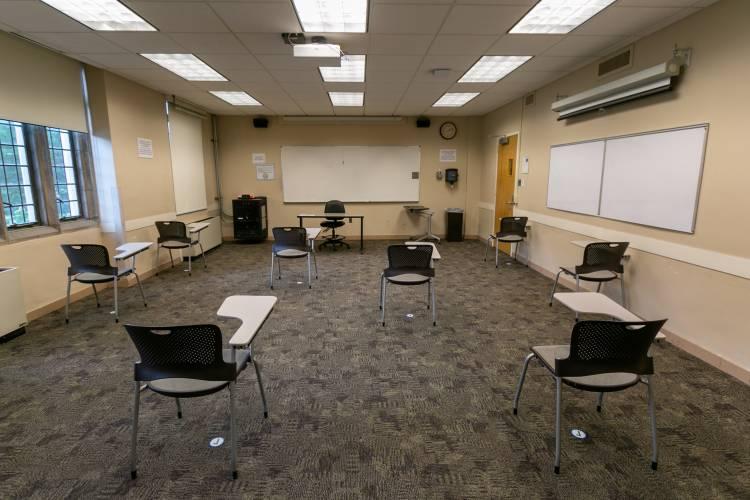 Facilities reconfigured classrooms to meet social distancing standards.